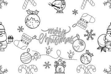 Seamless pattern for the New Year. Vector illustration of Christmas repeating wallpaper.