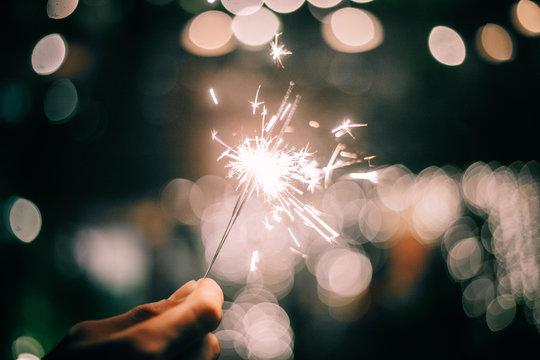 Sparklers light at the festival