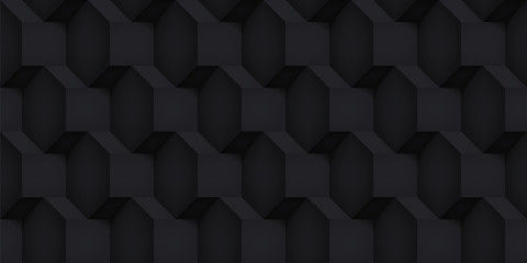 Volume realistic vector cubes texture, black geometric seamless pattern, design dark background for you projects