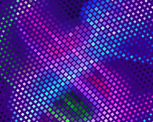 Disco panel. Bright dynamic background with squares. Geometrical figure of different scale neon color. Vector illustration.