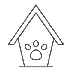 Pet house thin line icon, animal and home, dog house sign, vector graphics, a linear pattern on a white background.