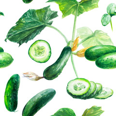 Cucumber hand draw seamless watercolor fabric pattern.