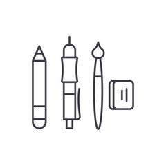 Artist tools line icon concept. Artist tools vector linear illustration, sign, symbol