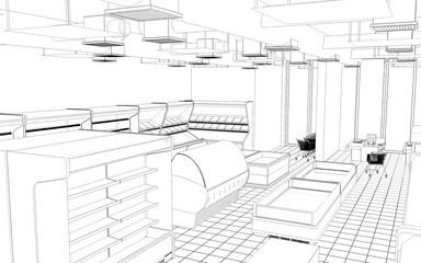 shop, grocery store, 3D illustration, sketch, outline