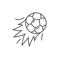 Ball goal line icon concept. Ball goal vector linear illustration, sign, symbol