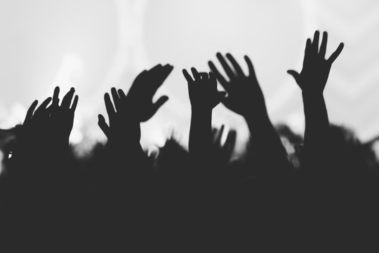 Hands silhouettes of the crowd raised up at music show. Black and white picture