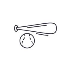 Baseball bat and ball line icon concept. Baseball bat and ball vector linear illustration, sign, symbol