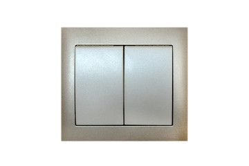 light switch on the two keys button in the interior of the home on the wall, isolated white background