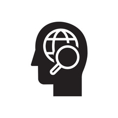 Research user icon. Head with magnifying glass sign