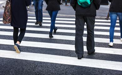pedestrian crossing in modern city
