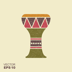 Traditional folk ethnic drum. Icon with scuffed effect in a separate layer