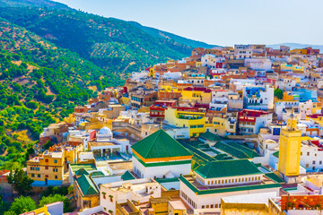 Landscape of the sacred town of Moulay Idriss, Morocco Fototapete