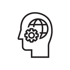 Gears user icon. Head with planet earth and gears