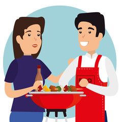 woman and man with sausages in the grill to the bbq