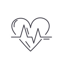 Cardiology line icon concept. Cardiology vector linear illustration, sign, symbol