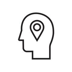 Location pin user icon. Head with location, destination sign