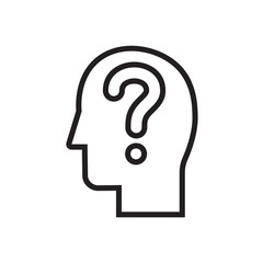 Question user icon. Head with question, doubt sign