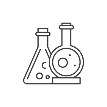 Chemical laboratory line icon concept. Chemical laboratory vector linear illustration, sign, symbol