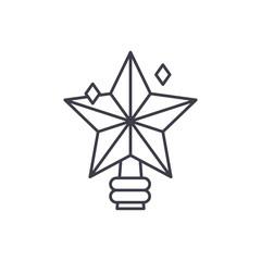 Christmas star line icon concept. Christmas star vector linear illustration, sign, symbol