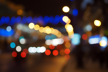 multicolored city lights blurred for background and texture
