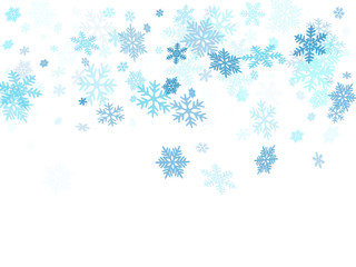 Winter snowflakes border cool background.
