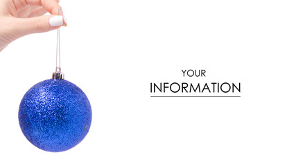 Christmas decoration blue Christmas tree toy in hand pattern on white background isolation