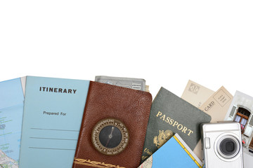 Flat lay display of travel documents and accessories