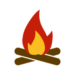 Campfire icon, bonfire. Flat Design. On the white background. Vector.