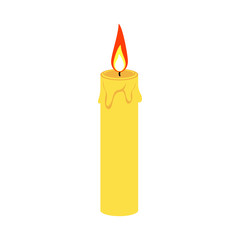 Candle icon with fire. Flat design. Vector.