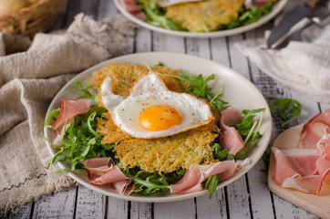 Potato pancakes with eggs and ham