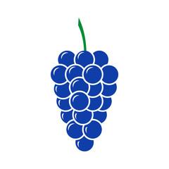 Blue grape vector icon. Flat design.