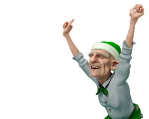 old man santa helper cartoon in a white background
