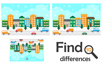 Find 10 differences, game for children, christmas snowy city in cartoon style, education game for kids, preschool worksheet activity, task for the development of logical thinking, vector illustration