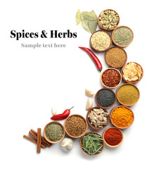 Photo sur Toile Herbe, epice Beautiful composition with different aromatic spices on white background