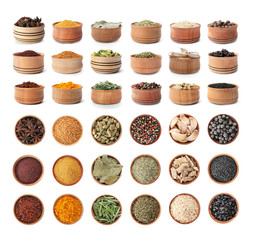 Wooden bowls with different spices and herbs on white background. Large collection
