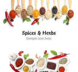 Canvas Prints Spices Set of different spices and herbs with space for text on white background, top view