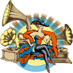 Burlesque dancer and gramophone. Engraved style. Vector illustration