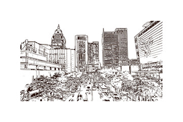 Building view with landmark of Taipei, the capital of Taiwan, is a modern metropolis. Hand drawn sketch illustration in vector.