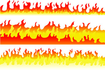 Set of cartoon fire flame frame border. Vector illustration of burning fire