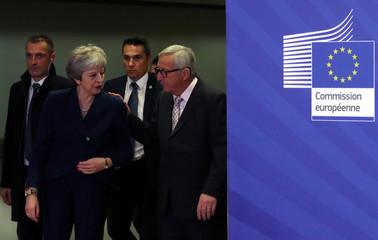 British PM May meets with European Commission President Juncker to discuss draft agreements on Brexit, at the EC headquarters in Brussels