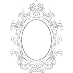 Vintage oval pattern frame in old style. Vector.