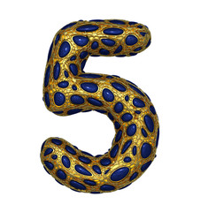 Number 5 five made of golden shining metallic 3D with blue glass isolated on white background.