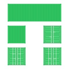 Set of different views of green cargo transport containers for logistics transportation and shipping on a white background
