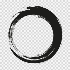Obraz vector brush strokes circles of paint on white background. Ink hand drawn paint brush circle. Logo, label design element vector illustration. Black abstract circle. Frame. - fototapety do salonu