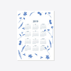 2019 flower decorative elegant calendar style cyanotype blue