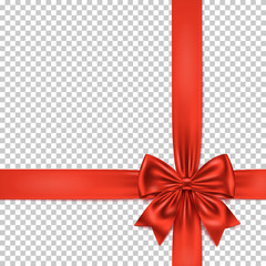 Red gift bow and ribbon isolated on transparent background.