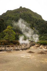 Smoking fumarole and water spring in geothermal area in Furnas Azores, Portugal