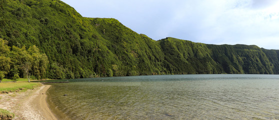 beautiful lagoon surrounded by mountains . Ancient volcano crater. Seven Cities lagoon Azores Islands Portugal