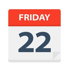 Friday 22 - Calendar Icon. Vector illustration of week day paper leaf.