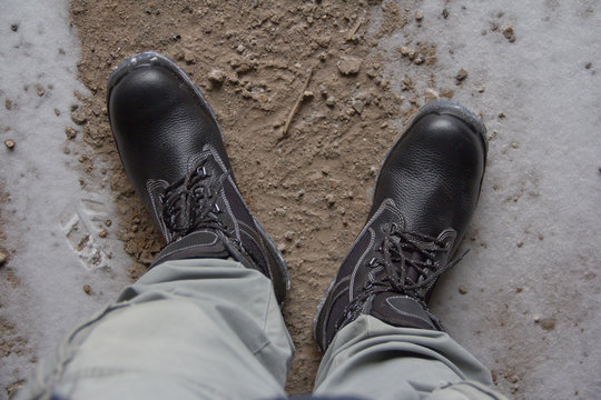 Work boots. New work boots. new leather boots on the ground